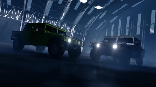 Off-Road Vehicles in Hangar