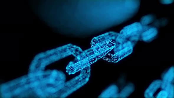Thumbnail for 4K Blockchain crypto currency connected multi-function blue chain particle closeup