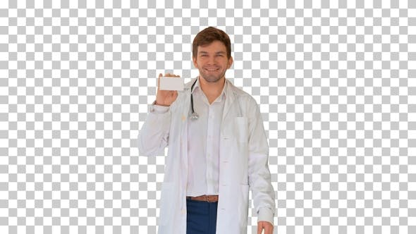 Smiling male doctor walking and advertising, Alpha Channel