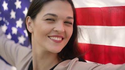 Woman with Flag of USA