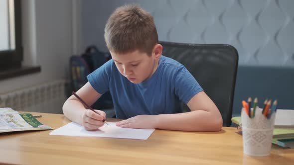 Little cute boy draws with pencils is engaged in creativity at home or in school