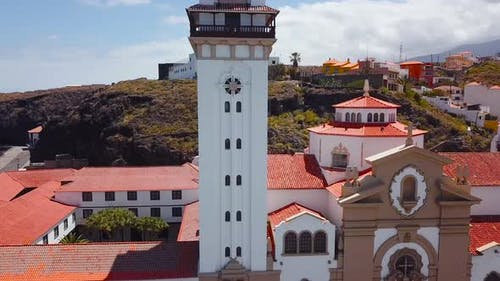 View From the Height of the Basilica and Townscape in Candelaria Near the Capital of the Island