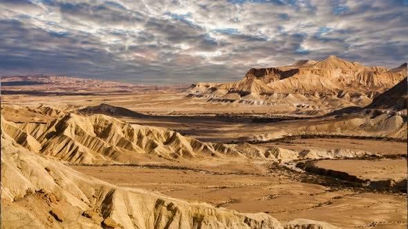 Thumbnail for The Famous Negev Desert in Israel at Sunset. Timelapse