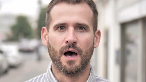 Close up of Wondering Beard Casual Man, Outdoor