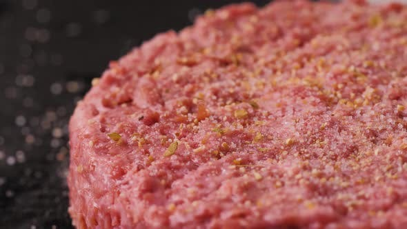 Thumbnail for Plant Based Vegan Burger Meat, Fake Vegeterian Beef Meat Close Up, Fresh Impossible Veggie Food
