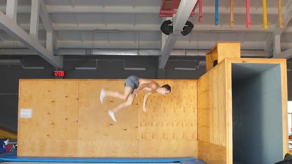 Thumbnail for Young Ambitious Sportsman Is Going To Do a Stunt at Trampoline