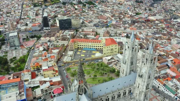 Aerial view showing the towers of the Basílica del Voto Nacional,
