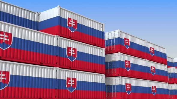 Thumbnail for Container Yard Full of Containers with Flag of Slovakia