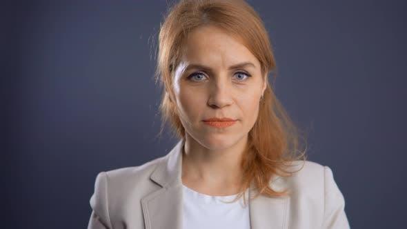 Thumbnail for Close Up Face Redhead Woman Looking Camera