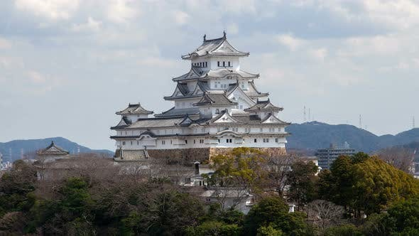Thumbnail for Himeji Castle White Roofs Under Cloudy Sky Timelapse