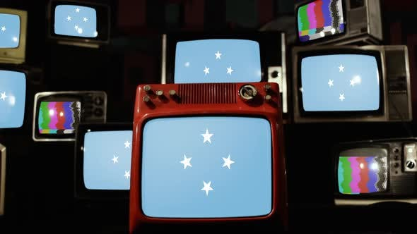Micronesia Flag on Retro TVs.