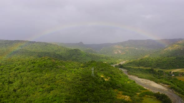 Thumbnail for Rainbow Over the River in the Highlands. Mountains on Luzon Island, Philippines
