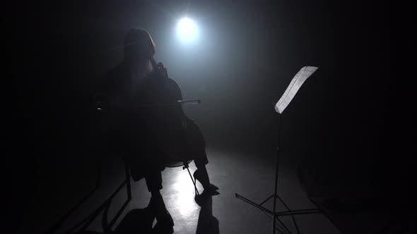 Thumbnail for Girl Playing the Cello During the Concert on Dark Room