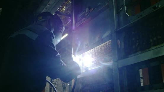 Thumbnail for A Welder Is Working Inside a Future Railcar