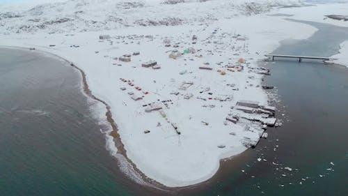 Aerial View of Barents Sea Bay Atlantic Ocean Murmansk
