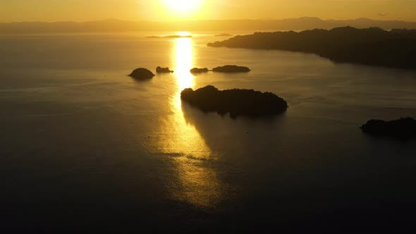 Thumbnail for Sunrise Over the Sea in the Tropics., Top View. Sunrise Over Ocean. Philippines.
