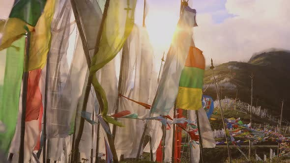 Thumbnail for Buddhist Prayer Flags Blowing In The Wind.