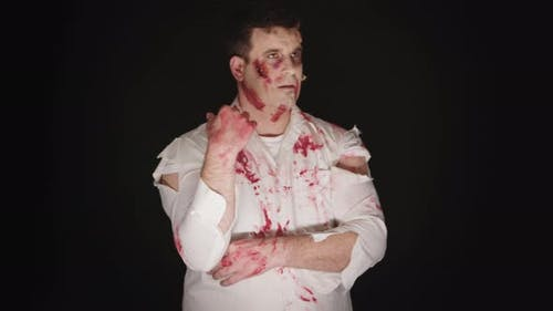 Young Man with Blood on His Face