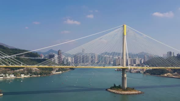 Thumbnail for Drone fly over Ting Kau Bridge in Hong Kong