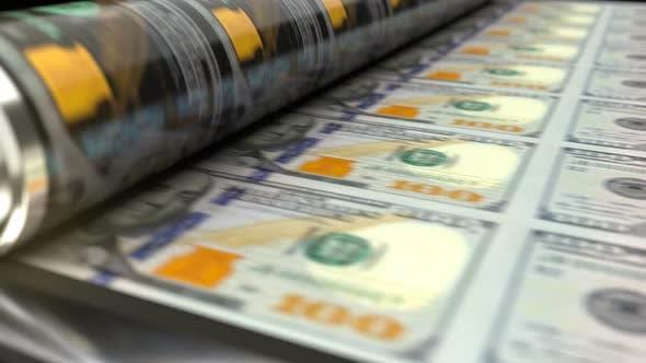 Thumbnail for US Dollars Printing Press Machine Prints 100 Dollars Banknotes