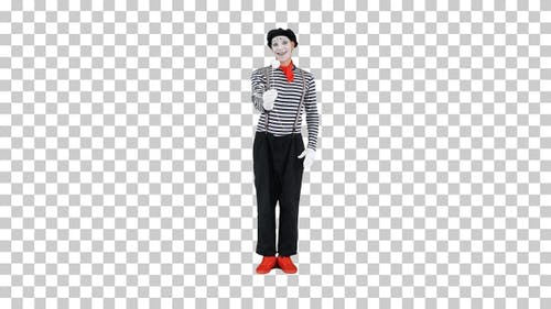 Sad mime holding a paper rose and offers, Alpha Channel