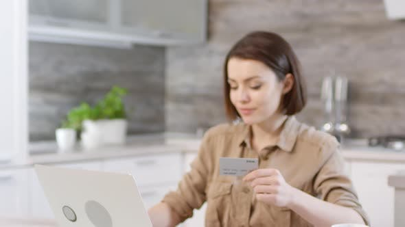 Thumbnail for Portrait of Beautiful Woman Doing Online Shopping at Home