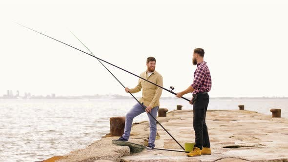 Thumbnail for Happy Friends with Fishing Rods on Pier 10