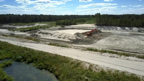 Thumbnail for Sand Pit with Digger at Pictorial Lake and Wood Aerial View