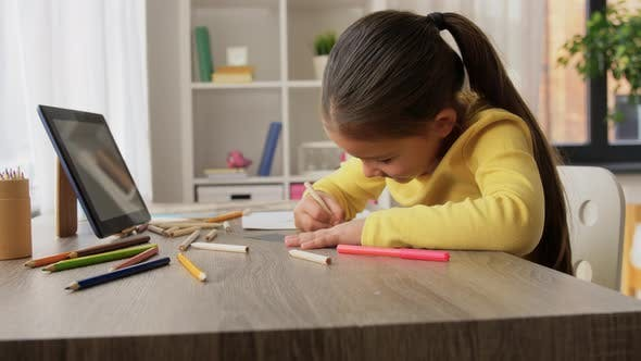 Thumbnail for Little Girl Drawing with Coloring Pencils at Home