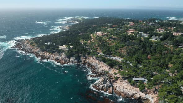 Thumbnail for Panoramic Aerial View on Scenic Shore with Prestige Houses on Rocky Coastline