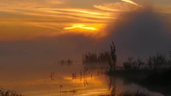 landschaft mit Sonnenaufgang auf fluss in nebel