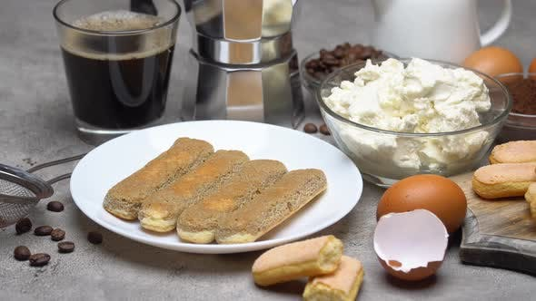 Thumbnail for Tiramisu Cake Cooking - Savoiardi Ladyfingers Biscuits, Cheese and Coffee