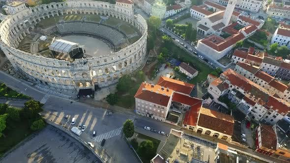 Thumbnail for Real time aerial fly over Pula arena, 6th largest Roman arena in the world.
