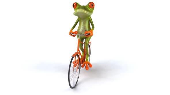 Frog on a bicycle