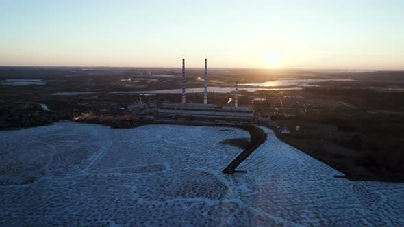 Thumbnail for Power Plant Aerial At Sunset