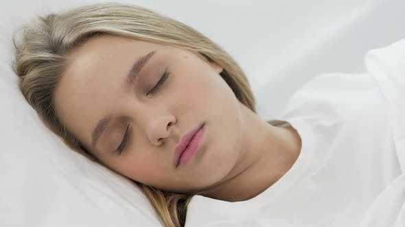 Thumbnail for Cute Teenage Girl Sleeping Softly on Comfortable Orthopedic Mattress, Closeup