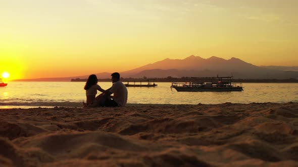 Thumbnail for Romantic Lady and Man in Love Dating on Vacation Enjoy Luxury on Beach on Summer White Sandy