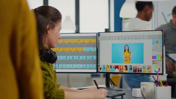 Freelancer Retoucher Woman Working on Computer with Photo Editing Software