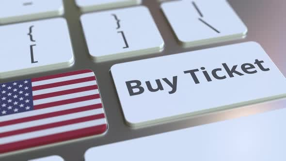 BUY TICKET Text and Flag of the United States on the Buttons