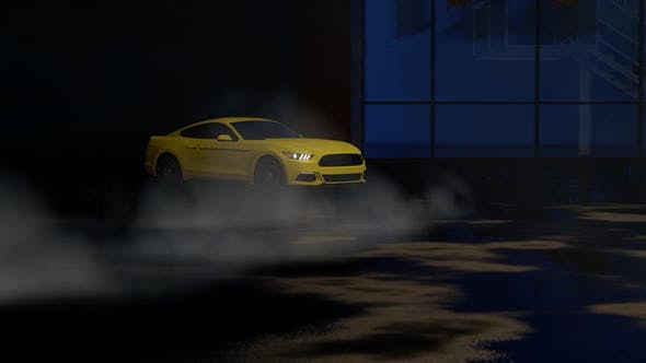 Thumbnail for Luxury Sports Yellow Car Drift at Night Parking Lot