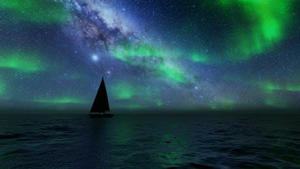 Beautiful Northern Lights Sailboat Sea Landscape