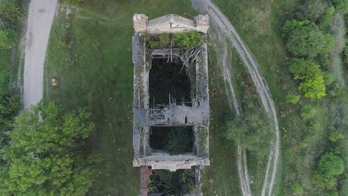 Destroyed building seen from above