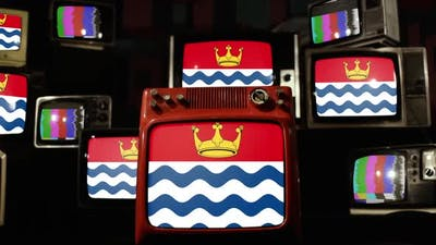 Flag of Greater London County, UK, on Retro TVs.