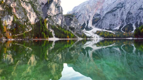 Lago Di Braies Lake And Seekofel Mountain on Fall Season