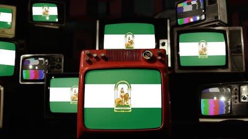 Flagge von Andalusien, Spanien und Retro-Fernsehern.