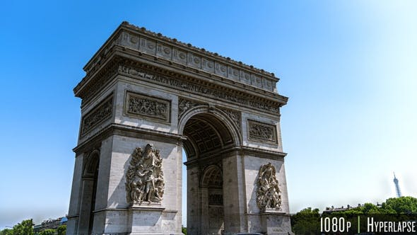 Thumbnail for Time Lapse Arc de Triomphe in Paris Arch of Triumph at France