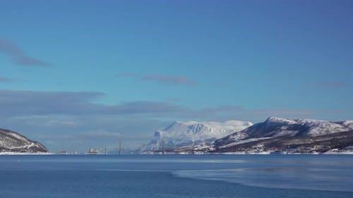 Winter Norwegian Fjord and Road Bridge
