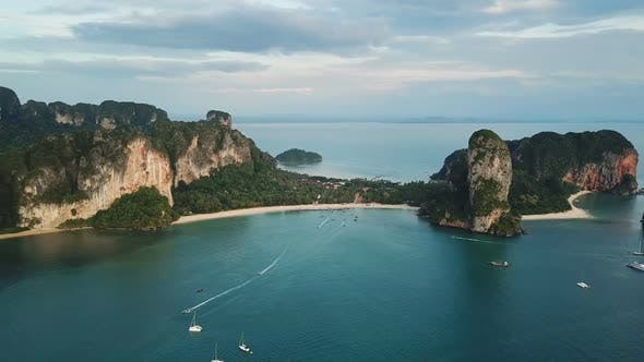 Aerial View of Sea and Rocks in Railay Krabi