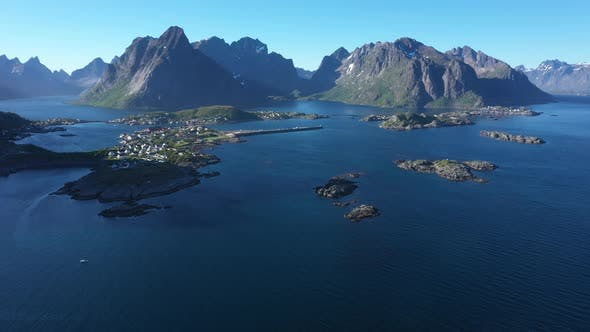 Thumbnail for Flight over the sea and view on the fishing village Reine and Hamnoya ,Lofoten Islands,Norway