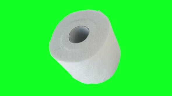 Toilet Paper Roll on Green Screen for Chroma Key